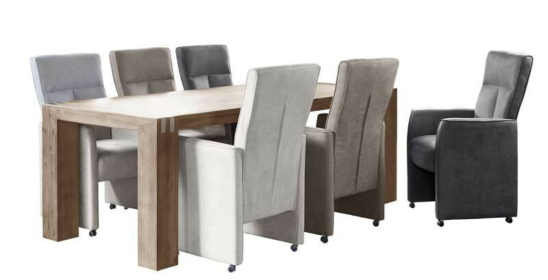 Eettafel Bassano L220xB100 acaciahout rough warm grey